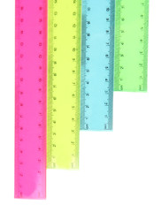 Plastic rulers isolated on white