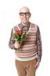 Schüchterner Nerd mit Rosen