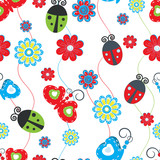 Ladybirds and butterflies seamless pattern