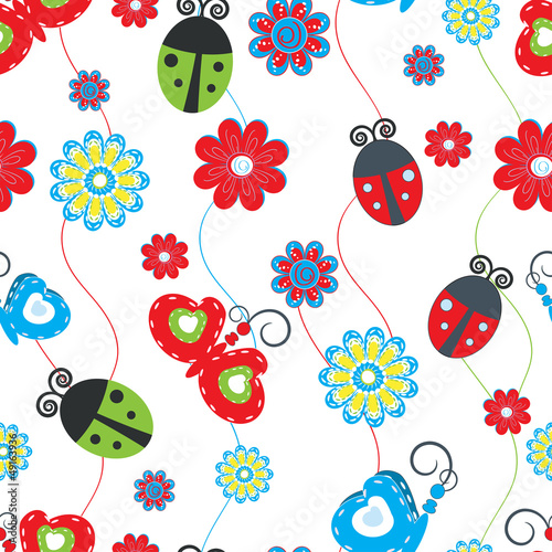 Fotobehang Lieveheersbeestjes Ladybirds and butterflies seamless pattern