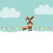 Bunny Meadow Pushing Wheelbarrow Easter Eggs Retro