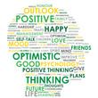 POSITIVE THINKING Tag Cloud (optimistic happy head mind)