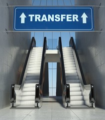 Moving escalator stairs in airport, transfer sign