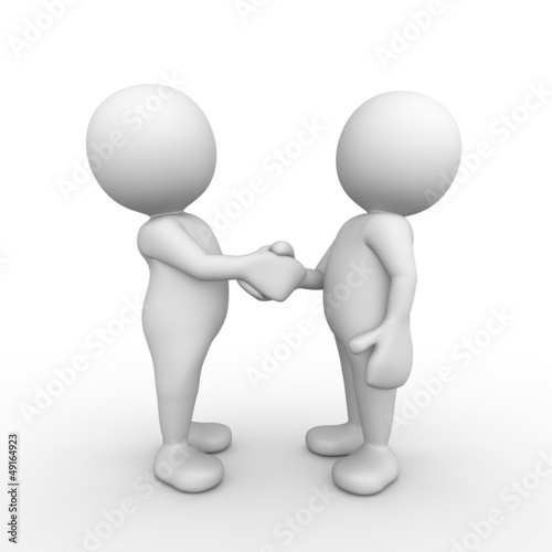 3D Minimalistic People Shake Hands