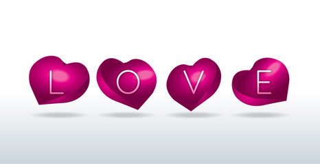 Love sign in shell-shaped hearts