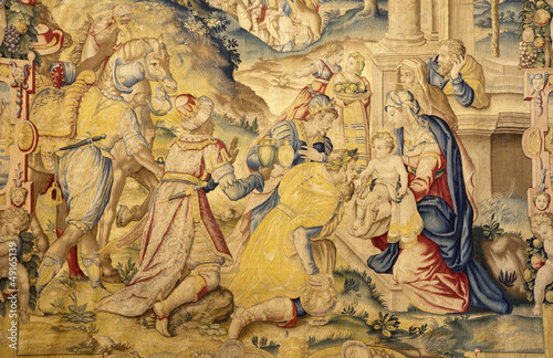Bergamo - gobelin of Adoration of the Magi in cathedral