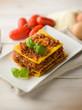 homemade vegetarian lasagne, selective focus