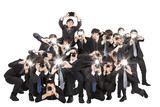 many photograper holding camera pointing to you and isolated on
