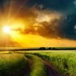 dramatic sunset over rural road in green field