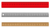Fototapety rulers made of plastic wooden and metal vector illustratio