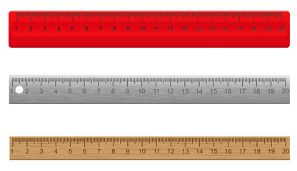 rulers made of plastic wooden and metal vector illustratio