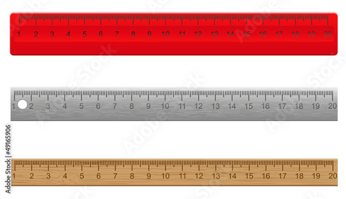 rulers made ​​of plastic wooden and metal vector illustratio