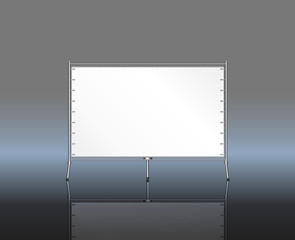 display, roll up, silver screen, free copy space