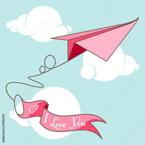 I Love You  origami airplane