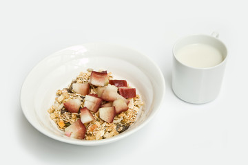 Cereal with fruit and soy milk