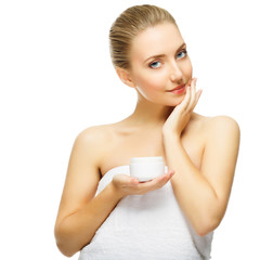 Beautiful blond woman tender jar of moisturizer cream