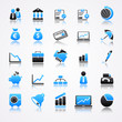 business blue icons reflection