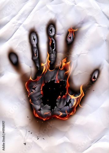 Burning hand-print