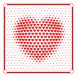 Heart beats with many small hearts. Halftone effects.