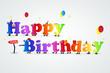 colourful happy birthday card flyer