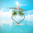 Strand Urlaub Konzept Herzförmige Palmen Insel