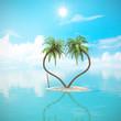 Einsame Karibik Insel mit Palmen in Herzform