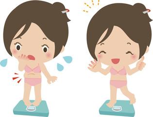 体重を量って一喜一憂する若い女性