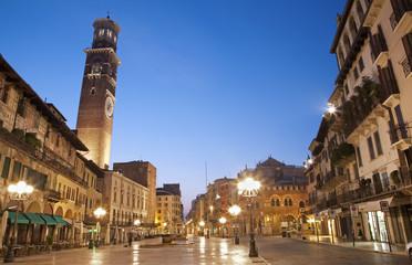 Verona  - Piazza Erbe in dusk