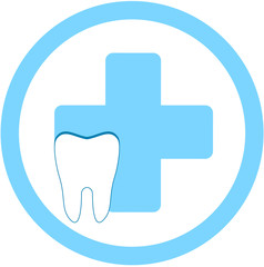 round dental clinic sign with medical symbol and tooth