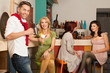 young caucasian people in colorful cafe
