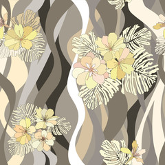 floral seamless background. flower wavy pattern in 1970s style.