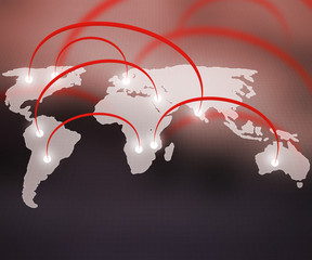 World Network Red Background