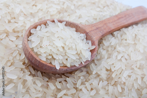 White rice in spoon