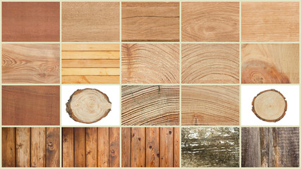 collage of textures of wood