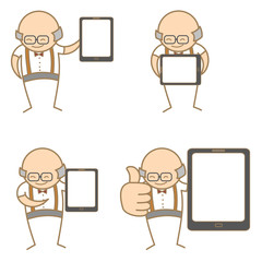 cartoon character set of old man with tablet
