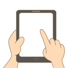 cartoon drawing of hand holding tablet