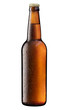 canvas print picture - brown bottle of beer on white + Clipping Path