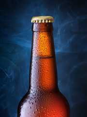 brown bottle of beer + Clipping Path