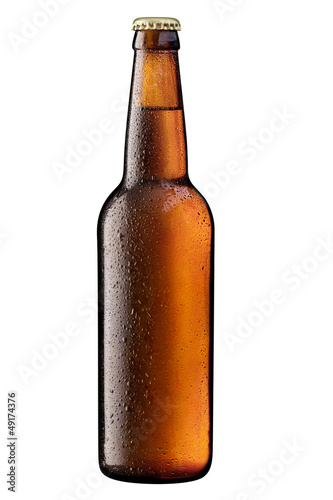 canvas print picture brown bottle of beer on white + Clipping Path