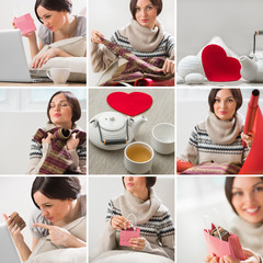 Valentines say or birthday image set with beautiful woman wrappi