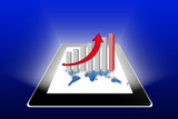 Financial success report & statistics on tablet pc