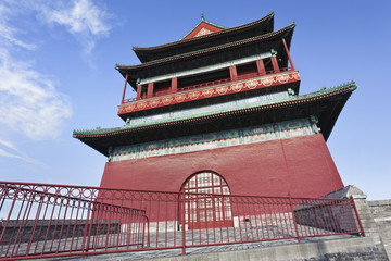 Famous drum tower in Beijing old town