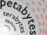 BIG Data / DNA_mega; giga; tera; petabytes - 3D poster