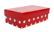 Beautiful red gift box with white dots