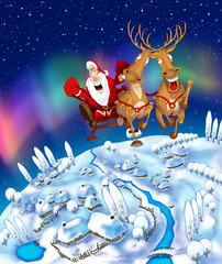 Illustration of flying Santa Claus in a sleigh
