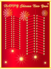 Chinese New Year on Firecracker Background
