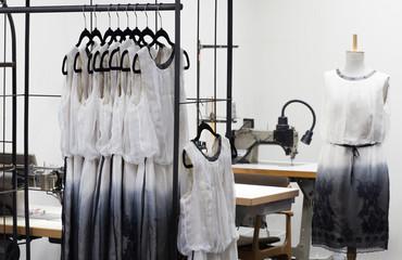At dressmaker's work