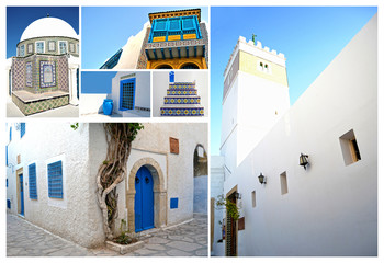 Tunisian architecture with the typical colors, white and blue