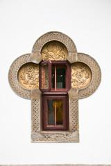 Window in Brancovenesc style, Sinaia Monastery, Romania.