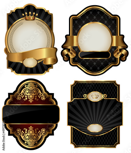 set of four black labels over white